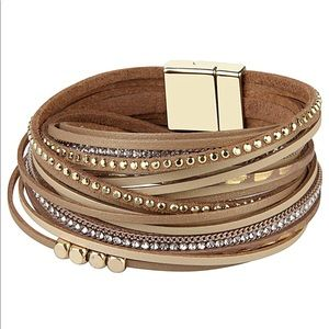 Jewelry - Gold and Beige Leather Wrap Bracelet